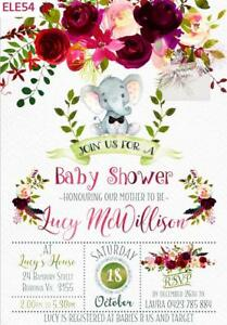Details About ELEPHANT BABY SHOWER 1ST BIRTHDAY PARTY INVITATIONS BOY GIRL VERSIONS