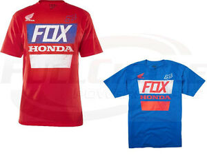 Fox Racing Men's Guys Honda Distressed Basic Tee/T-Shirt Red Blue Foxhead Honda