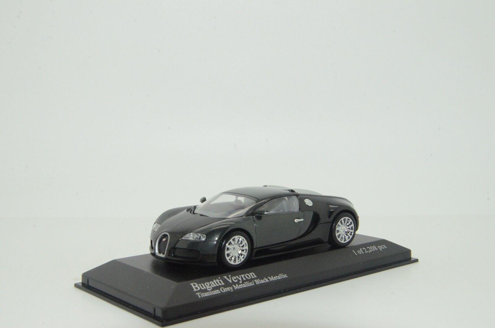 promociones emocionantes rara Bugatti Bugatti Bugatti Veyron 2018 Gris/Negro Metalizado Minichamps 1102820 1/43  nuevo listado