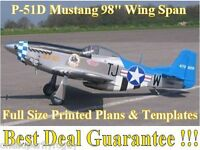 P-51d Mustang 98 Giant Scale Rc Airplane Full Size Printed Plans & Templates