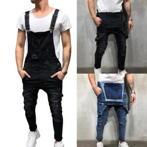 Men-039-s-Suspenders-Denim-Bib-Overalls-Fashion-Ripped-Jeans-Slim-Jumpsuit-Pockets