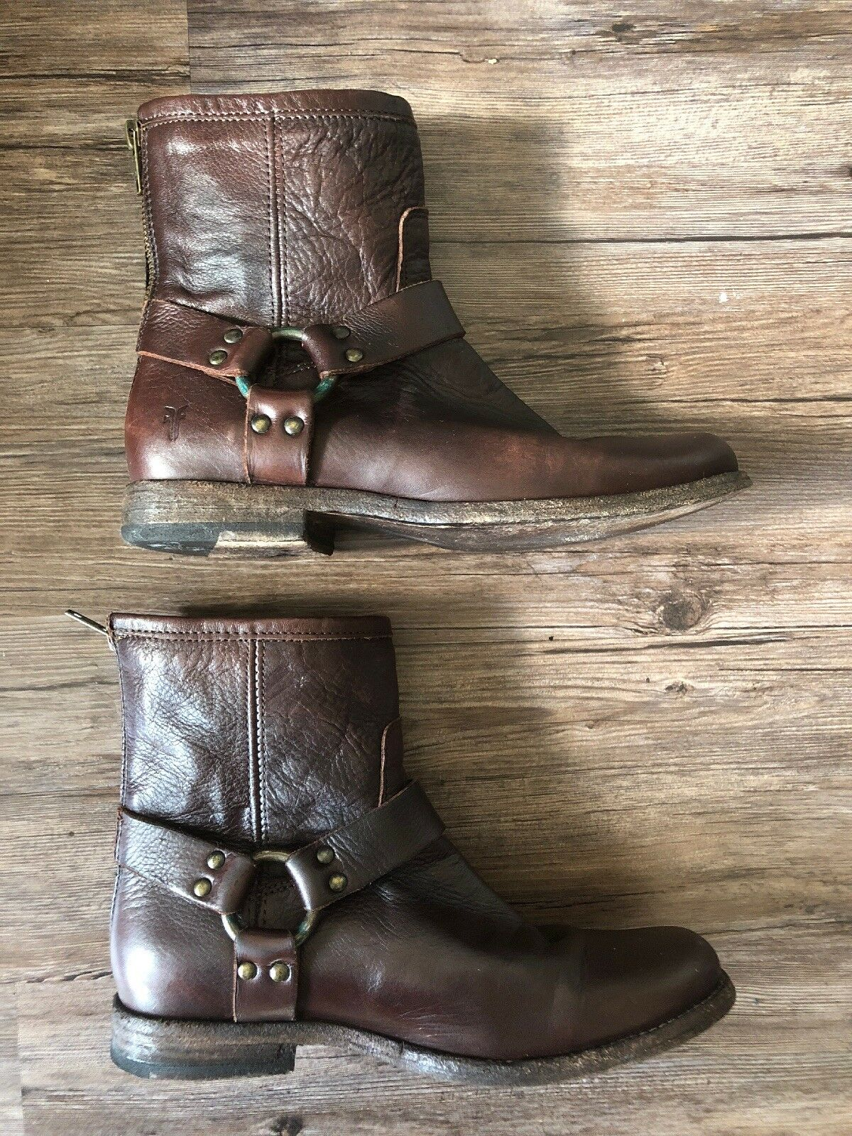 Frye Phillip Harness Cognac Soft Vintage Leather Ankle Boots Zipper US 7.5 Rare