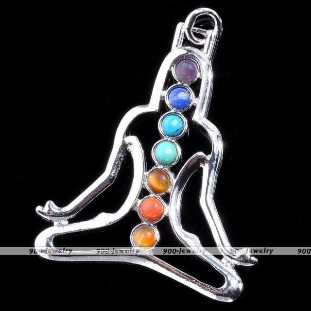 Meditating Yoga 7 Stone Chakra Healing Point Reiki Gemstone Bead Charm Pendant