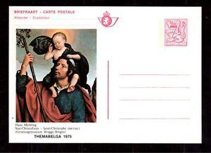 BELGIUM-1975-MINT-STATIONERY-POSTCARD-ST-CHRISTOPHE-BY-HANS-MEMLING