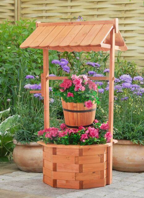 Wishing Well Planter Wooden Lawn Garden Yard Decor Flower Decorative  Natural Col