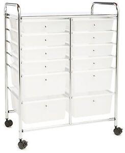 Image Is Loading NEW 12 Drawer Chrome Organizer Cart Plastic Storage