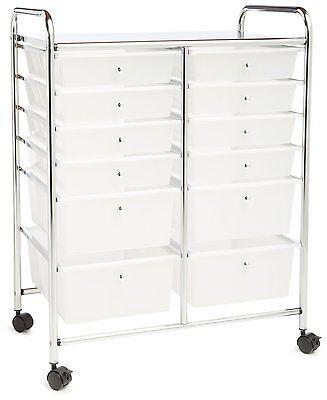 NEW 12 Drawer Chrome Organizer Cart Plastic Storage Bins Rolling Office Cart New