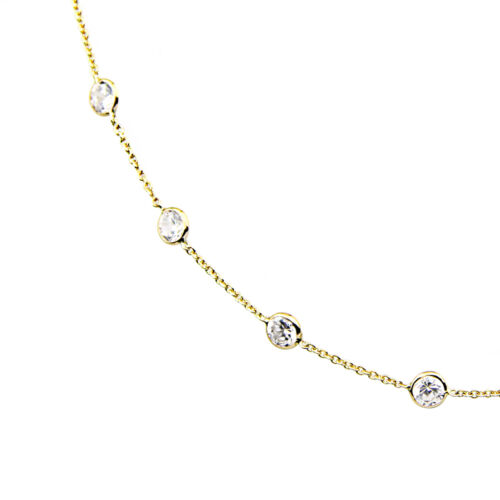 14K Yellow Gold Cubic Zirconia By The Yard Necklace 20 Inches