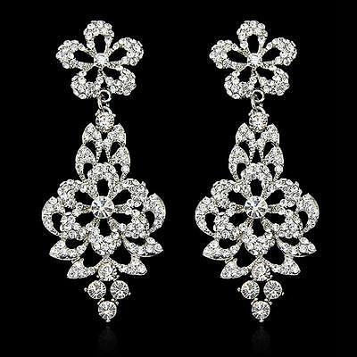 Women Jewelry Vintage Wedding Crystal Rhinestone Dangle Drop Chandelier Earrings