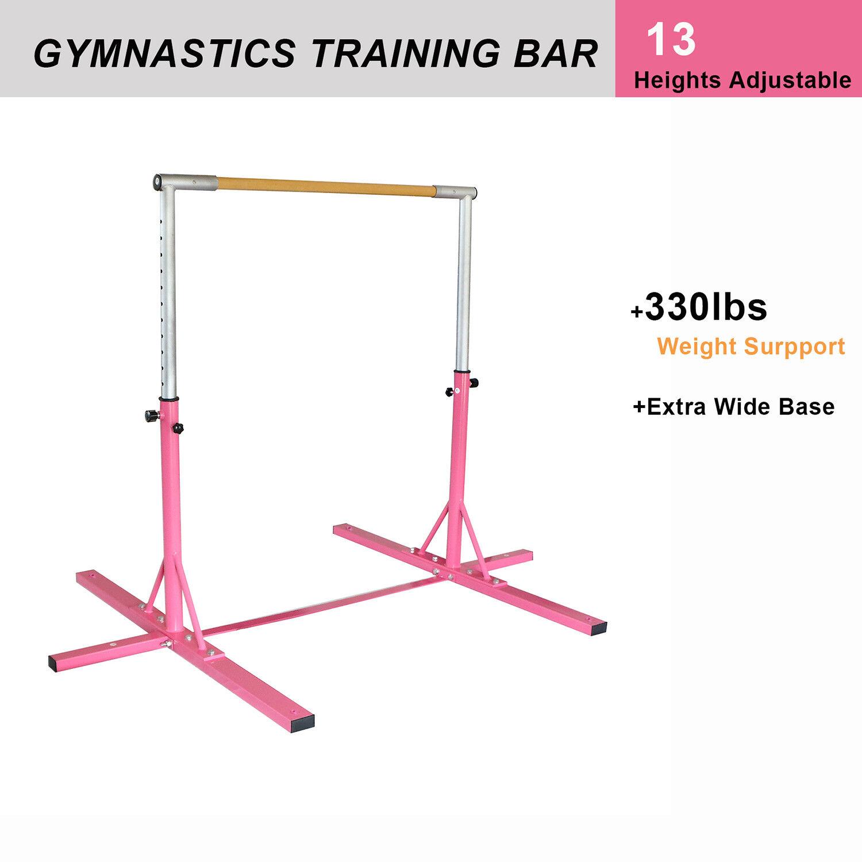 Junior Training Gymnastics Bar Kip Gym Sport, 13 Optional Height Pink Adjustable