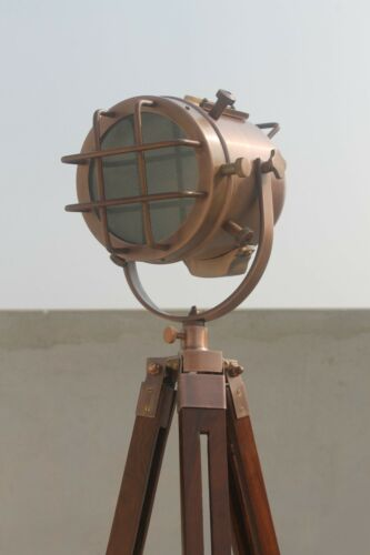 NAUTICAL DESIGHNER SEARCHLIGHT ANTIQUE COPPER FLOOR LAMP WITH WOOD TRIPOD STAND.