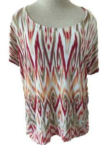 Chicos-knit-top-size-3-or-XL-16-short-sleeve-orange-red-tan-gathered-side
