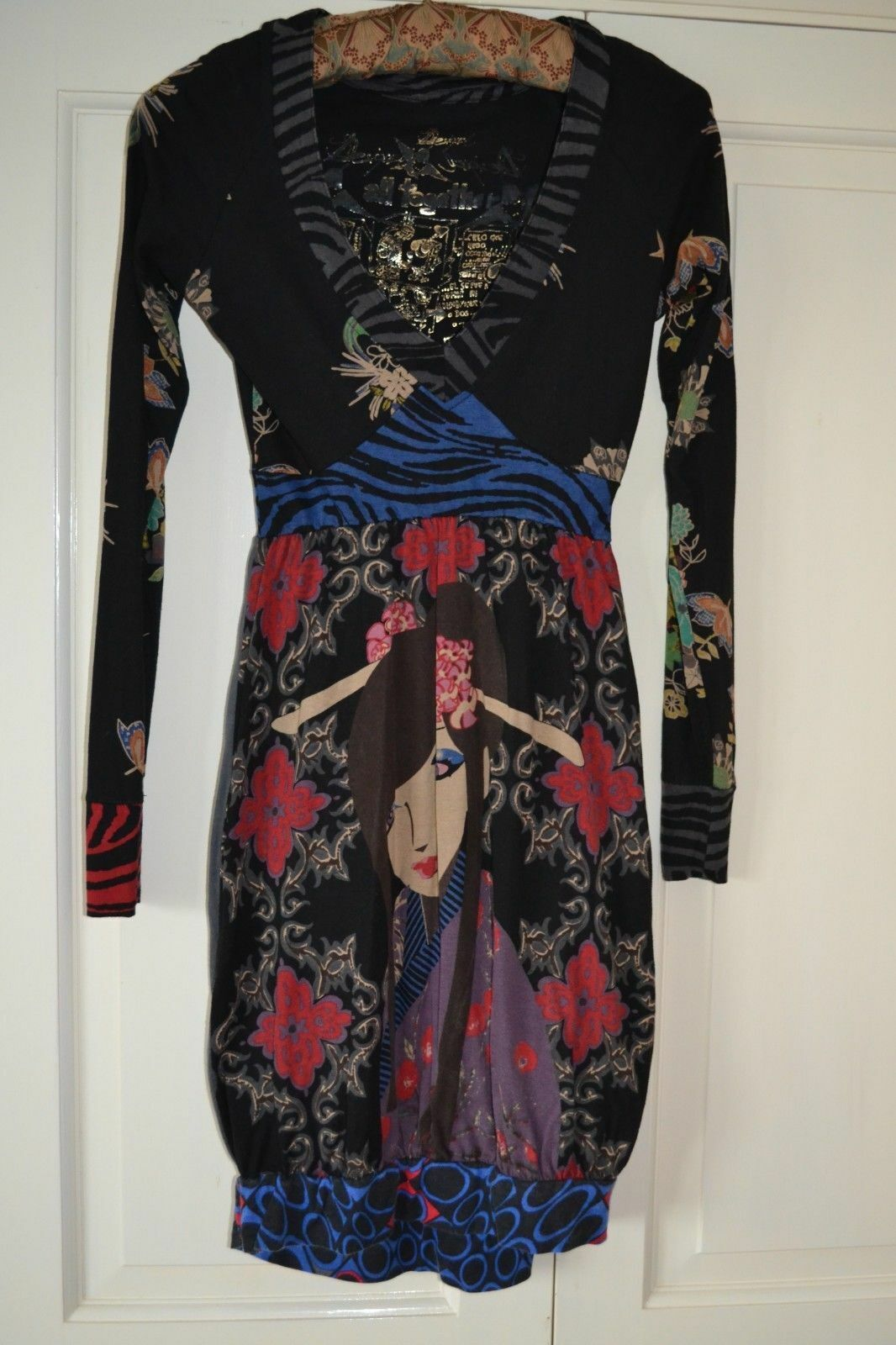 Desigual All Together schwarz Vintage Japanese Lady Cotton Dress XS embroidery