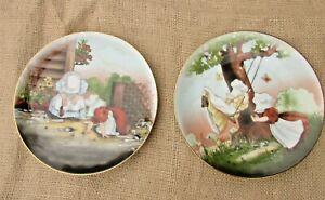 Vtg-Royal-Bayreuth-Sun-Bonnet-Babies-PLAYTIME-SERIES-Plates-034-Marbles-034-034-Swinging-034