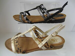 Ladies-Black-Beige-Down-To-Earth-Sandals-UK-Sizes-3-8-F10429