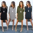 Fashion Women Chiffon Long Sleeve Mini Dress V-neck Casual Loose Dresses