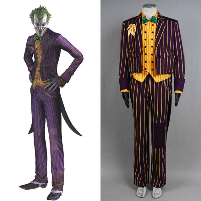 New Batman Arkham Asylum Dark Knight Joker Clown Costumes Cosplay Tailcoat Suit