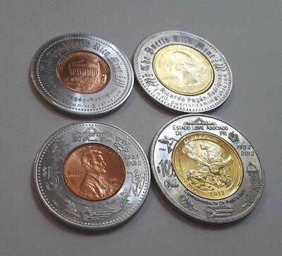 Set 3 LUCKY Encased 2009 COLOR Quarters BUENA SUERTE Anillado PUERTO RICO lot