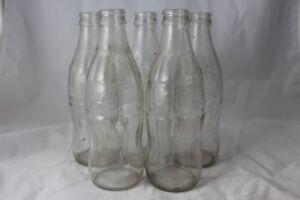 6-Pk-Vtg-Coca-Cola-Coke-Kerr-Empty-Glass-Soda-Bottles-Clear-10oz-No-Refill-Lot