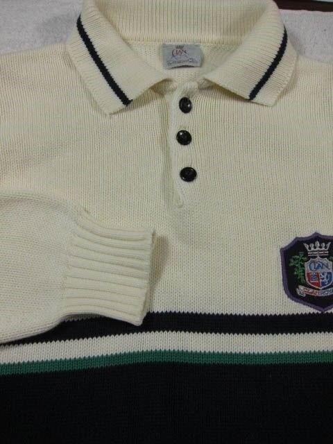 VINTAGE Clan Royal Edinburgh Scotland White With Stripes Cotton Polo Sweater M