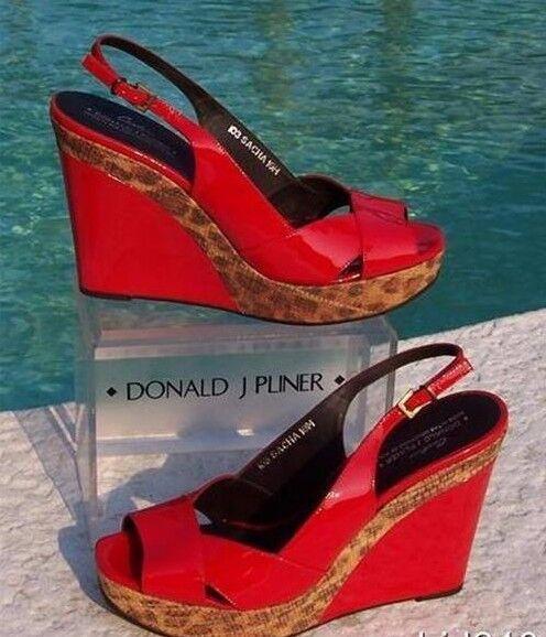 Donald Pliner Couture Charol Zapato de cuña NUEVO Arena Arena Arena Congo Rafia  275 Nuevo En Caja  ventas en linea
