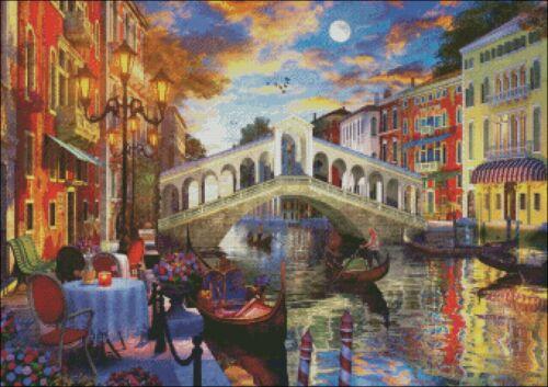 DIY Chart Counted Cross Stitch Patterns Needlework 14 ct Venice Rialto Bridge