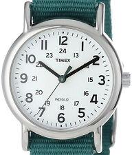 "$44.95 Timex Womens ""Weekender"" Green Nylon Strap Watch T2N915 DEFECTIVE INDIGLO"