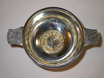 "3/"" Lion Pewter Scottish Quaich Quake Scotland Drinking Cup"