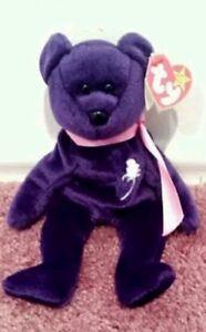 fc81c9a1e74 Ty Beanie Baby PRINCESS Diana Bear RARE 1st EDITION! 1997 PVC ...
