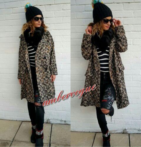 Tweed S 8 De Zara Uk Laine En Mélange Taille Manteau Imprimé 7nxw8A