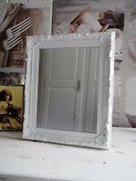 23x28cm Spiegel Wandspiegel Barock weiß Kunststoff Nostalgie shabby French Chic