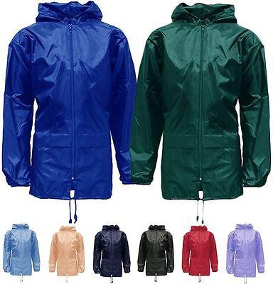 MENS WOMENS UNISEX LONG HOODED RAIN COAT WATERPROOF KAGOOL RAIN MAC COAT JACKET