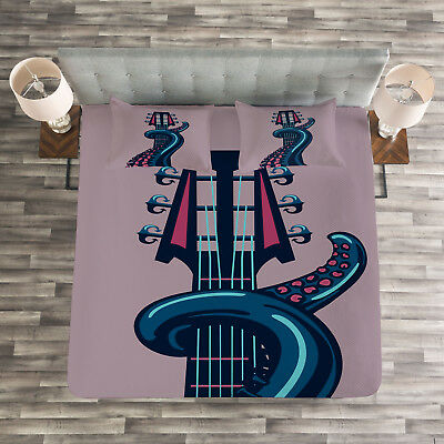 Guitar Quilted Bedspread /& Pillow Shams Set Instrument in Flames Print