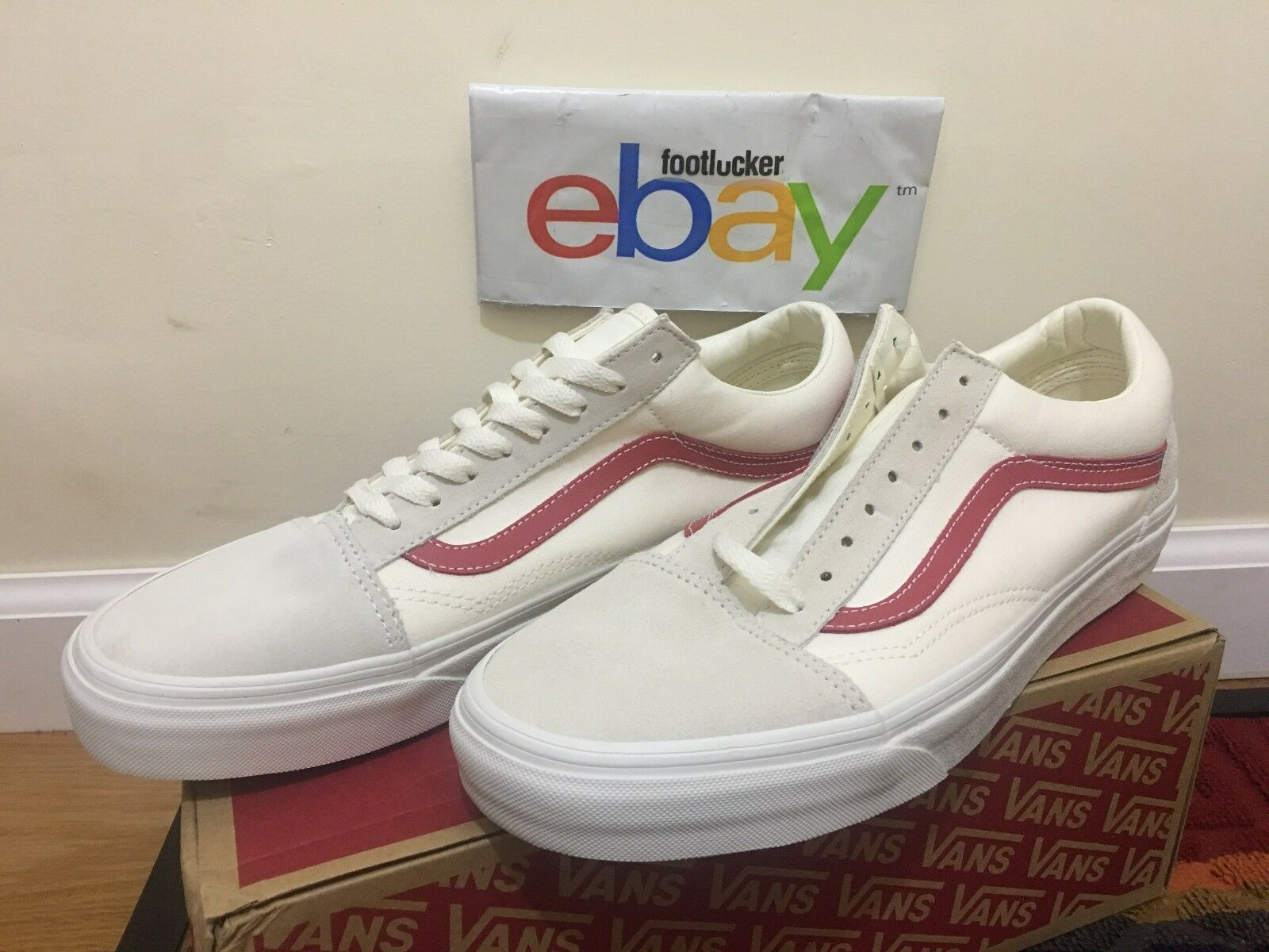Vans Old Skool Vault Vintage White Red Rococco Cream Men's Size 6-13 Yacht Club