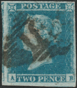 1841-SG14-2d-BLUE-PLATE-4-FINE-USED-4-MARGINS-STATE-1-IRISH-CANCEL-AB