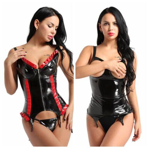Womens Fashion Wet Look Zip Gothic Bustier Corset Waist Cincher Dress Lingerie