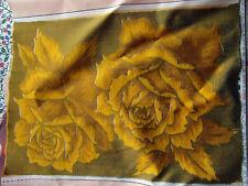 tissu RUBAN fleur feuille moutarde rose 50x 36cm ☺