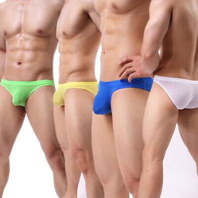 Men Transparent Ice Silk Underwear Boxer Brief Thin Elastic Quick Dry Breathable