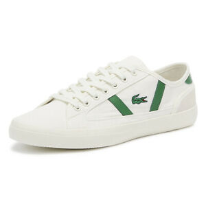 lacoste sideline 119 4 mens off white / green trainers