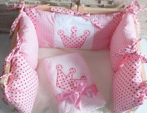 Baby Mädchen Nestchen einzelne Kissen oder Decke mit Krone für Babybett