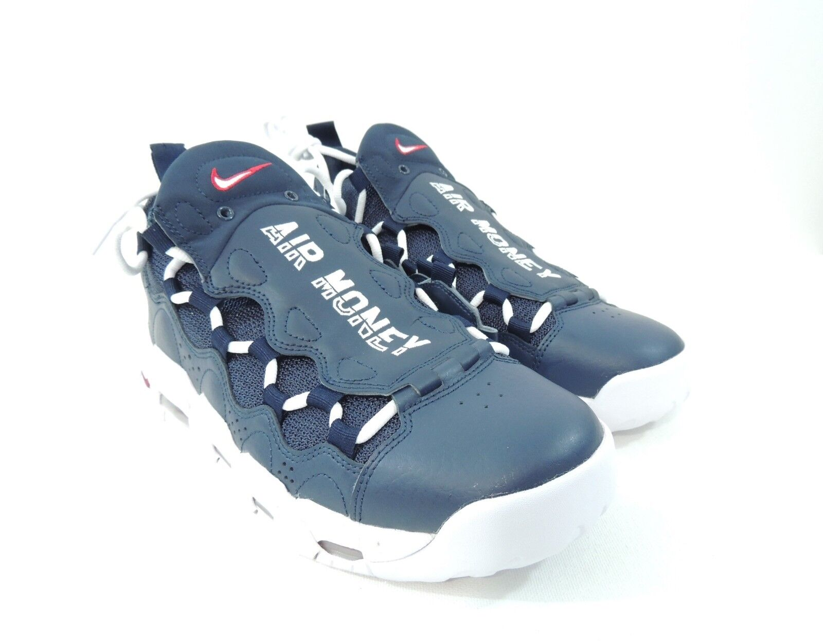 Nike Mens Air More Money Olympic Obsidian blueee White Gym Red AJ2998-400 Size 8