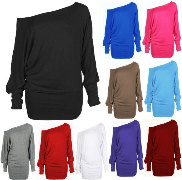 New Womens One Off Shoulder Batwing Long Sleeve T-Shirt Jump Top Size 8 10 12 14