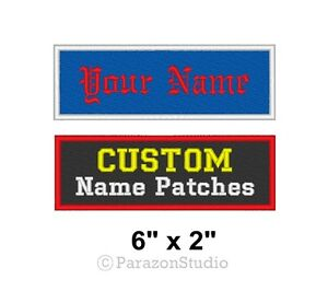 Custom-Embroidered-Name-Tag-Sew-on-Patch-Motorcycle-Biker-Badge-6-034-x-2-034-B