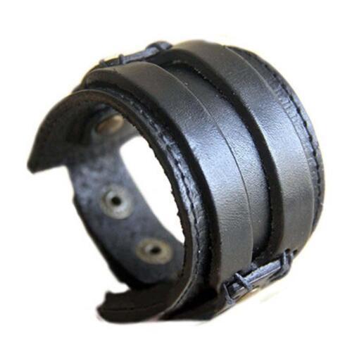 Charming Genuine Leather Cuff Wrap Bracelet Wristband Bangle Bracelet Black BT