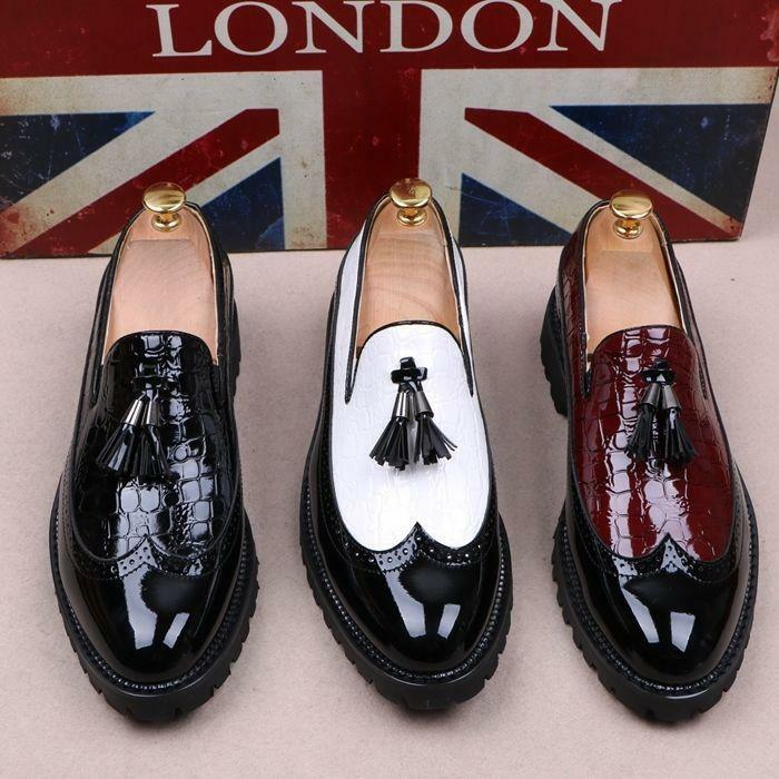 Mens Carved Tassels Patent Leather Pull On Loafers Wing Tip Brogue Casual shoes