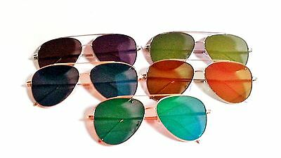 Aviator Sunglasses Flat Lens and Frame Mens Womens 58 mm Multicolored Lenses