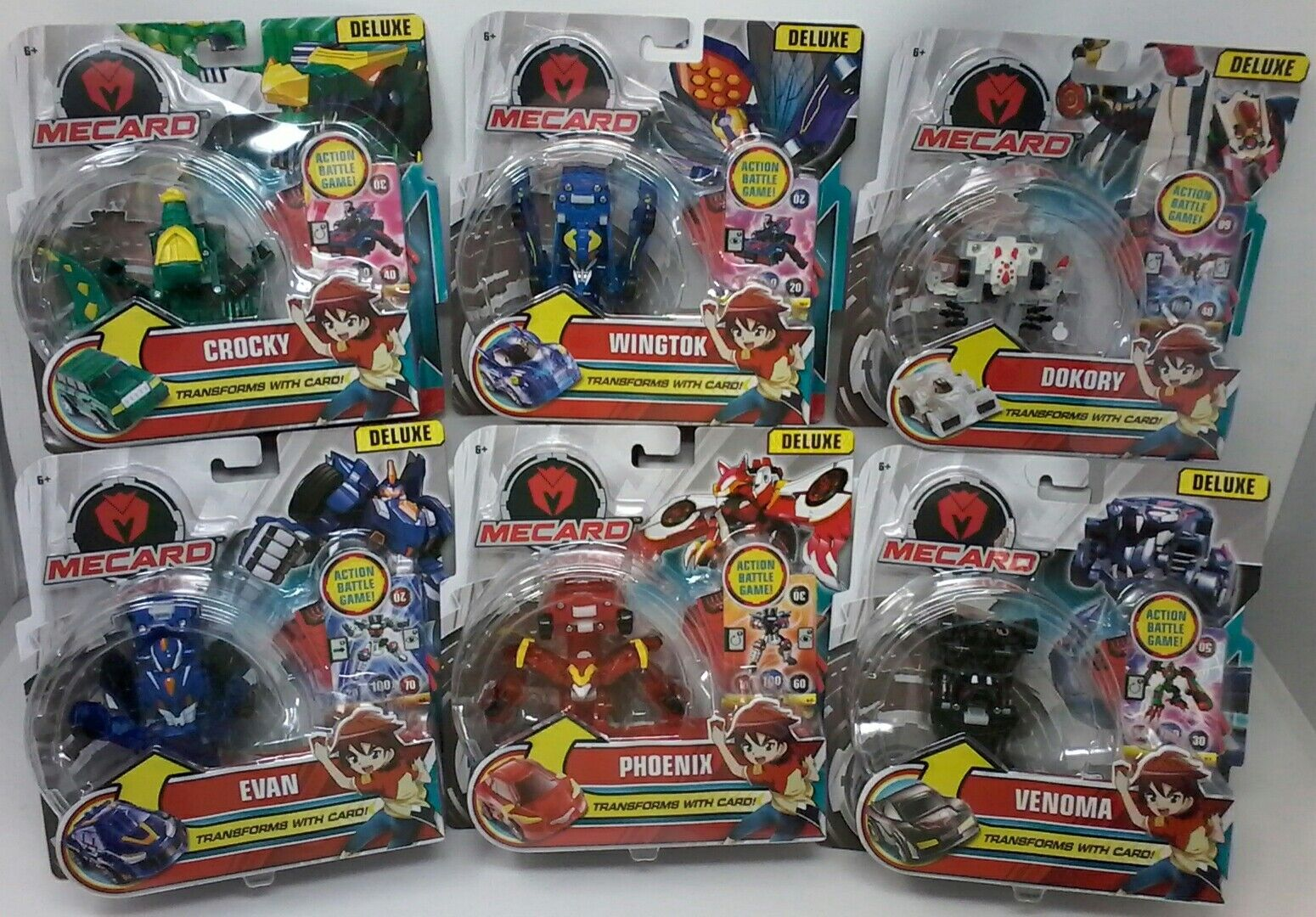 Mecard Action Battle Game  Deluxe Transforming Figures (Set of 6)