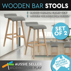 Details About Set Of 2 Bar Stools Wooden Kitchen Chair Dining W Pu Padded Seat Grey