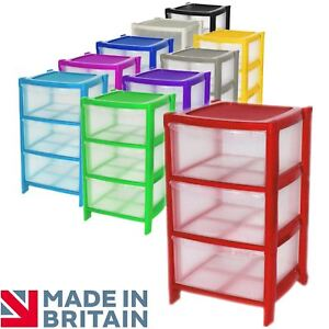 Image is loading 3-Drawer-Plastic-Large-Tower-Storage-Drawers-Chest-  sc 1 st  eBay & 3 Drawer Plastic Large Tower Storage Drawers Chest Unit with Wheels ...