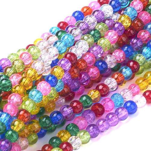 20Strand Dyed Mixed Crackle Glass Beads For DIY Bracelet Necklace Jewelry Making